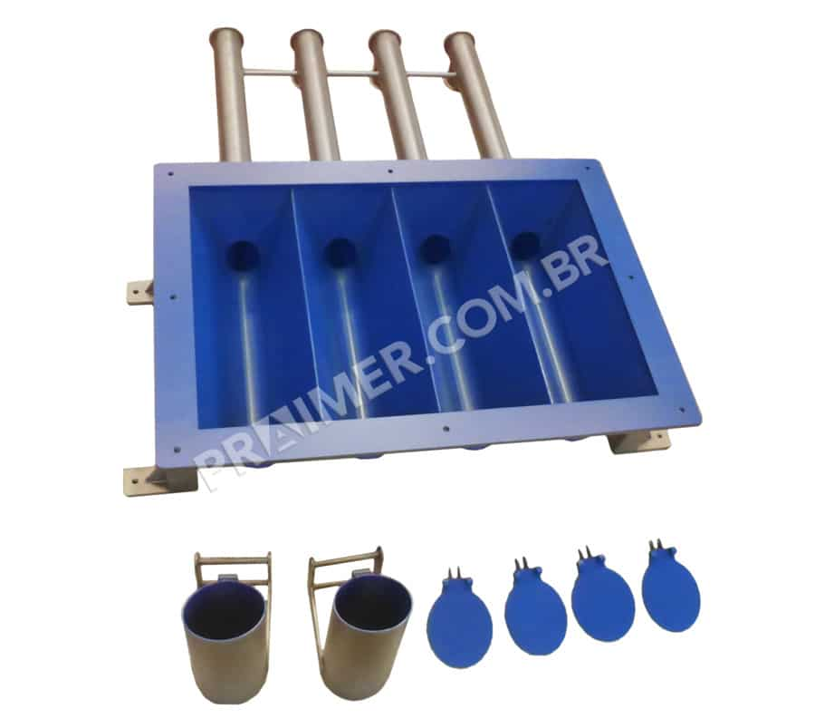 Xylan blue fluoropolymer for metering hopper for the meat industry